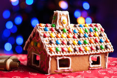 Gingerbread house decorated with colorful candies royalty free stock image