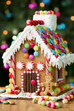 Gingerbread house. Decorated with colorful candies stock photos