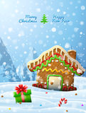 Gingerbread house decorated icing are in snow. Winter landscape with cookie, gift, candy cane. Qualitative vector (EPS-10) illustration for christmas, new year's Royalty Free Stock Photo