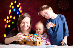 Gingerbread house decoration stock images
