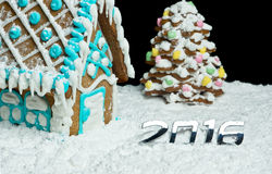 Gingerbread house and digits 2016 Royalty Free Stock Image