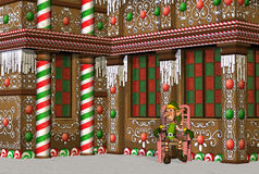 Gingerbread House with Elf royalty free stock photos