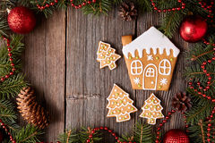 Gingerbread house and fir trees cookies Stock Images