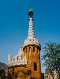 Gingerbread House of Gaudi modernism fairytale in Park Guell, Barcelona, Spain.  royalty free stock image