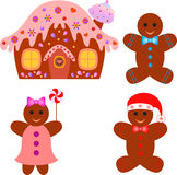 Gingerbread House, Gingerbread Man, Gingerbread Woman Illsutrations. Isolated gingerbread house, gingerbread man, gingerbread woman illustrations, gingerbread Royalty Free Stock Photos
