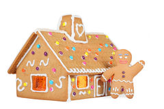 Gingerbread House with Gingerbread Man, Isolated Stock Images