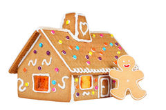 Gingerbread House with Gingerbread Man, Isolated Stock Photography