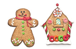 Gingerbread house with gingerbread man Stock Image
