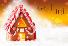 Gingerbread House, Golden Background, God Jul Means Merry Christmas Stock Images