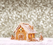 Gingerbread house  on grey background. Royalty Free Stock Photography