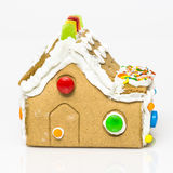 Gingerbread house. Handmade gingerbread house on white background Royalty Free Stock Photos