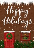 Gingerbread House Happy Holidays Card stock image