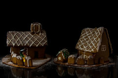 Gingerbread house. Homemade Gingerbread house and a snowman Royalty Free Stock Photo