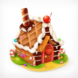 Gingerbread house icon. Gingerbread house, sweet food vector icon Royalty Free Stock Photos