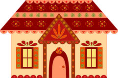 Gingerbread House Illustration. Isolated brown, pink and yellow gingerbread house illustration, lollipop, flowers, snowflakes, candy house, house illustration Royalty Free Stock Images