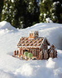 Gingerbread House In Real Snow Royalty Free Stock Image