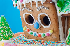 Gingerbread House isolated on blue Stock Image