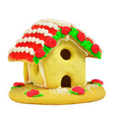 Gingerbread house isolated on white Stock Photos