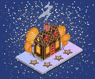Gingerbread House Isometric. Gingerbread in the form of stars vector illustration