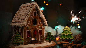 Gingerbread house with lights stock video footage