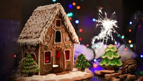 Gingerbread house with lights stock video