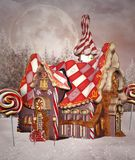Fantasy candy house in winter vector illustration