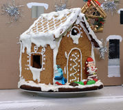Gingerbread house made by children for the holiday Royalty Free Stock Photo