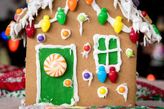 Gingerbread house made with a Childs hands Royalty Free Stock Images