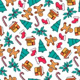 Gingerbread house and man, candy, Santa`s sock, fir-tree. Christmas seamless pattern. design for the New Year 2019. Gingerbread house and man, candy, Santa`s vector illustration