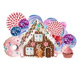 Gingerbread house and gingerbread man cookies. Vector illustration. Stock Photography