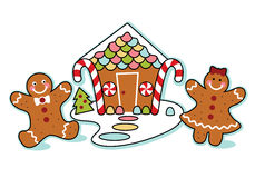 Gingerbread house, man, and woman illustration Stock Images