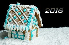 Gingerbread house and number 2016 Royalty Free Stock Photography