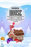 Gingerbread house party with Gingerbread house and Christmas balls. royalty free illustration