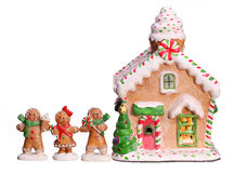 Gingerbread house and people isolated Royalty Free Stock Images