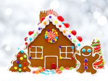 Gingerbread house with silver background Stock Photography