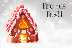 Gingerbread House, Silver Background, Frohes Fest Means Merry Christmas Stock Photos