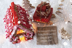Gingerbread House, Sled, Snowflakes, Frohe Weihnachten Means Merry Christmas Royalty Free Stock Images