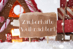 Gingerbread House, Sled, Snowflakes, Weihnachten Means Magic Christmas Stock Photos