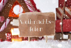 Gingerbread House With Sled, Snowflakes, Weihnachtsfeier Means Christmas Party Stock Image