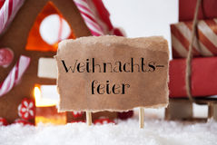 Gingerbread House With Sled, Weihnachtsfeier Means Christmas Party Royalty Free Stock Photo