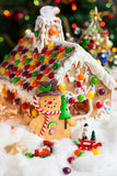 Gingerbread house and snowmen Royalty Free Stock Photo