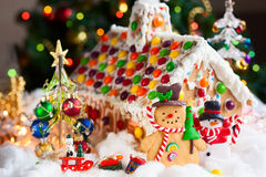 Gingerbread house and snowmen Royalty Free Stock Image