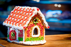 Gingerbread house stands on a   table Stock Images