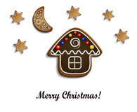 Gingerbread  house with stars Stock Images