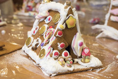 "Gingerbread House. After story ""Hansel and Gretel"" hand decorated by child Stock Image"