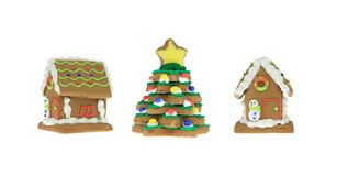 Gingerbread House and Tree Stock Images
