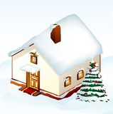 Gingerbread House with tree. Vector Royalty Free Stock Photos