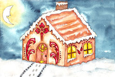 Gingerbread house watercolor Stock Image