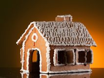Gingerbread house on white Stock Images