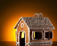 Gingerbread house on white Royalty Free Stock Photo